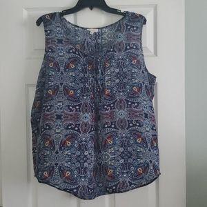 Navy printed sleeveless blouse